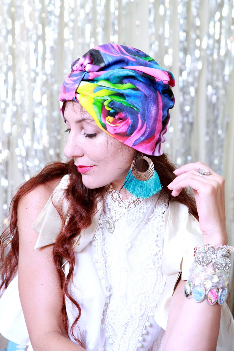 Turban Hat in Rainbow Roses Floral Print  Organic Cotton image 0