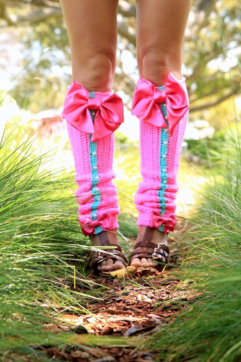 Hot Pink Leg Warmers with Bows  Kawaii Fashion Leggings  image 0