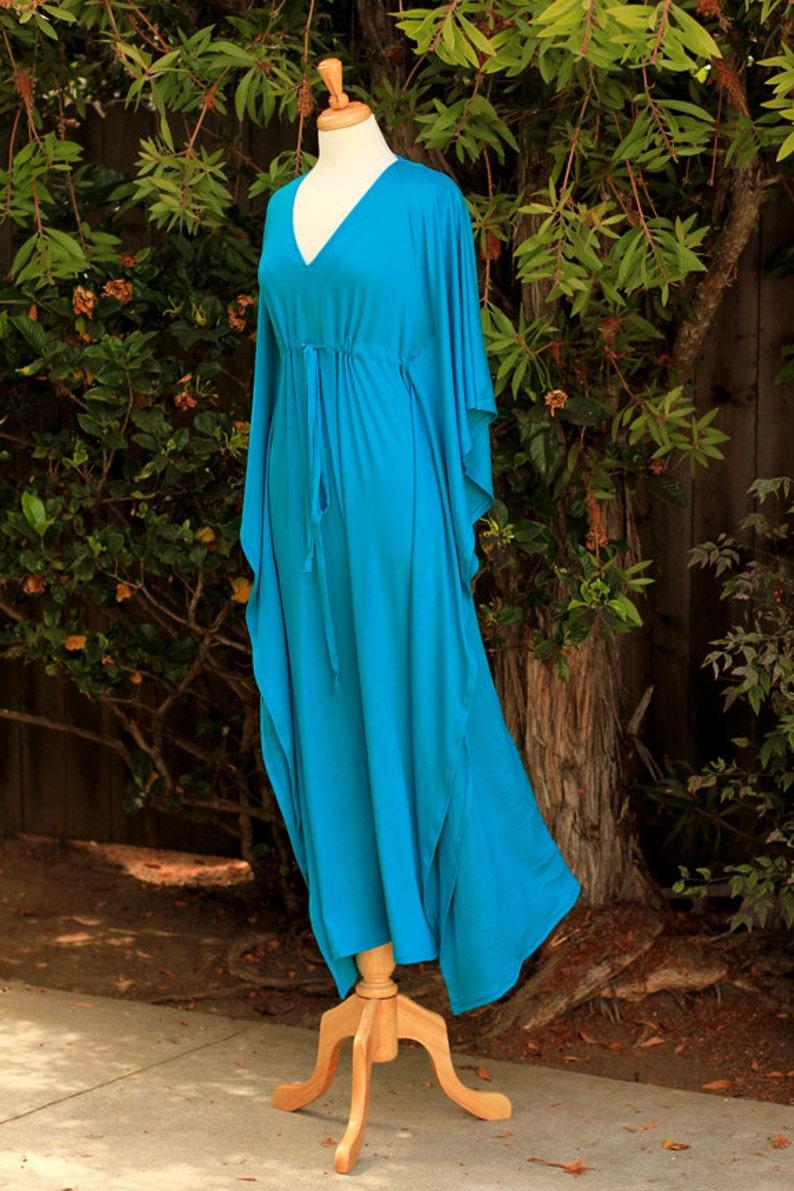 e178b9b1699 Kaftan Maxi Dress in Teal Jersey Knit Long Caftan Lots of