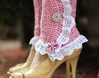 Victorian Style Leg Warmers - Crochet and Lace Spats in Rose - Steampunk Accessories - Lots of Colors