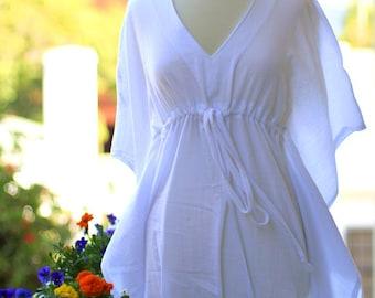 Mini Caftan Dress - Beach Cover Up Kaftan in White Cotton Gauze - Lots of Colors