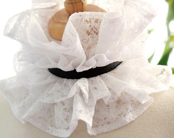 White Lace Collar with Black Ties - White and Black Choker Collar - Elizabethan Ruff or Victorian Style Collar - Edwardian Collar