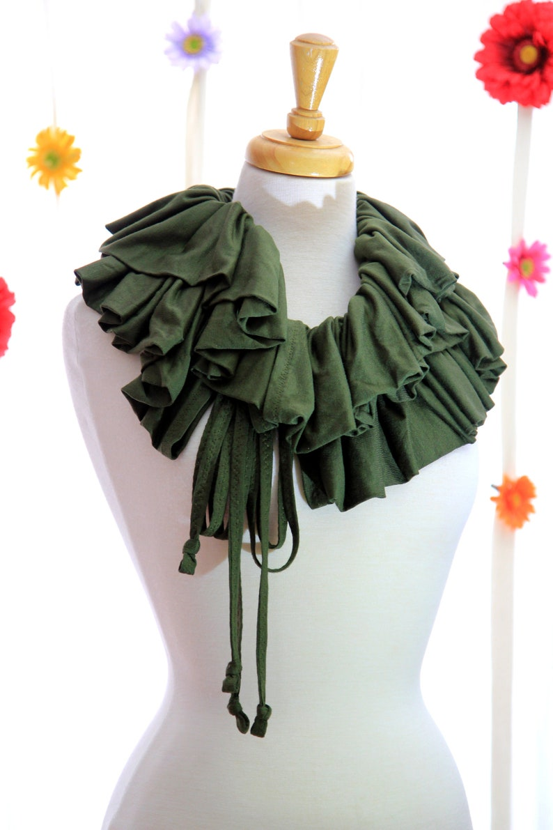 Olive Scarf or Shrug with Ruffles  Convertible Fashion Collar image 0