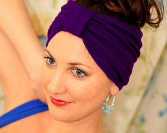 Turban Headband - Hair Warp in Purple Jersey Knit - Boho Style Wide Headbands - 24 Colors