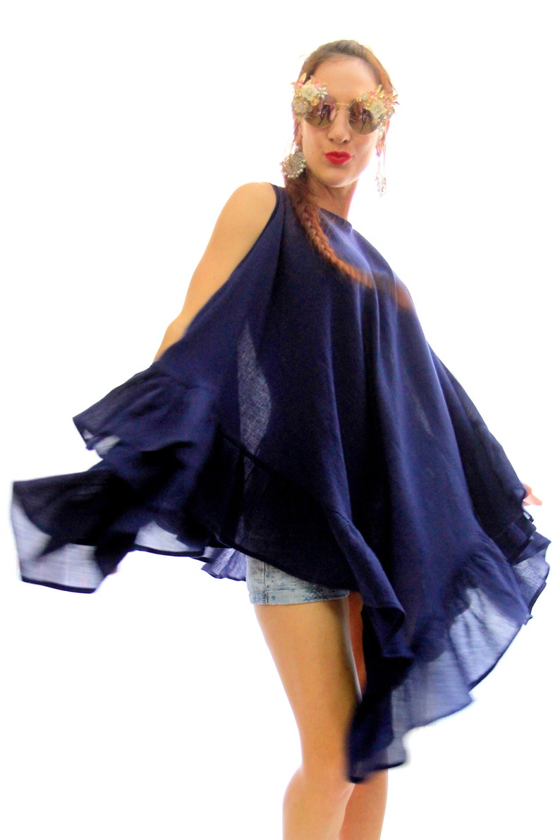 572a4c13fc Beach Cover Up in Navy Blue Gauze Semi Sheer Swimsuit | Etsy