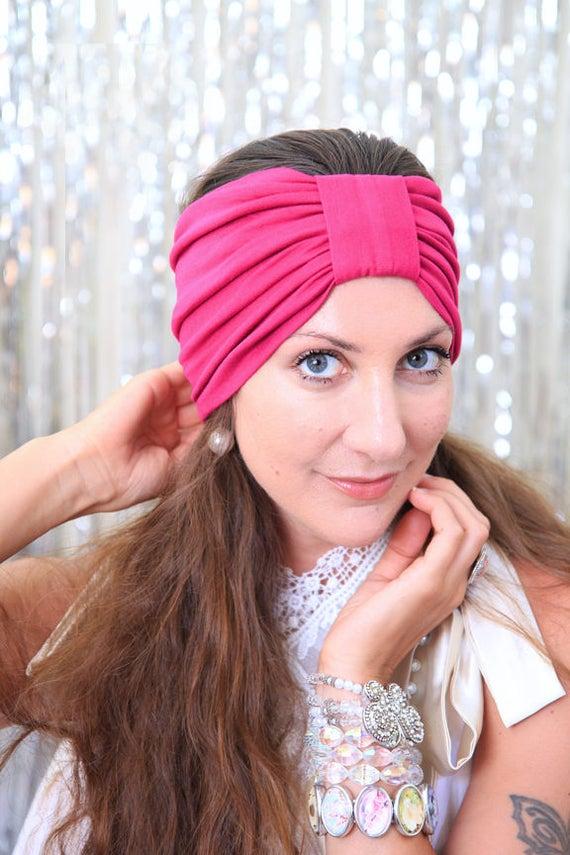 33f66fc2491 Turban Headband Women s Hair Band in Fuchsia Jersey Knit