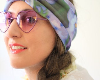 Turban Headwrap in Violet Organic Cotton Floral Print - Wide Headband for Yoga or Mediation - Women's Bohemian Style Hair Wrap