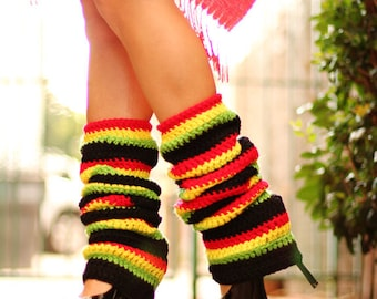 Rasta Leg Warmers - Jamaica Stripes - Red  Black Green Yellow