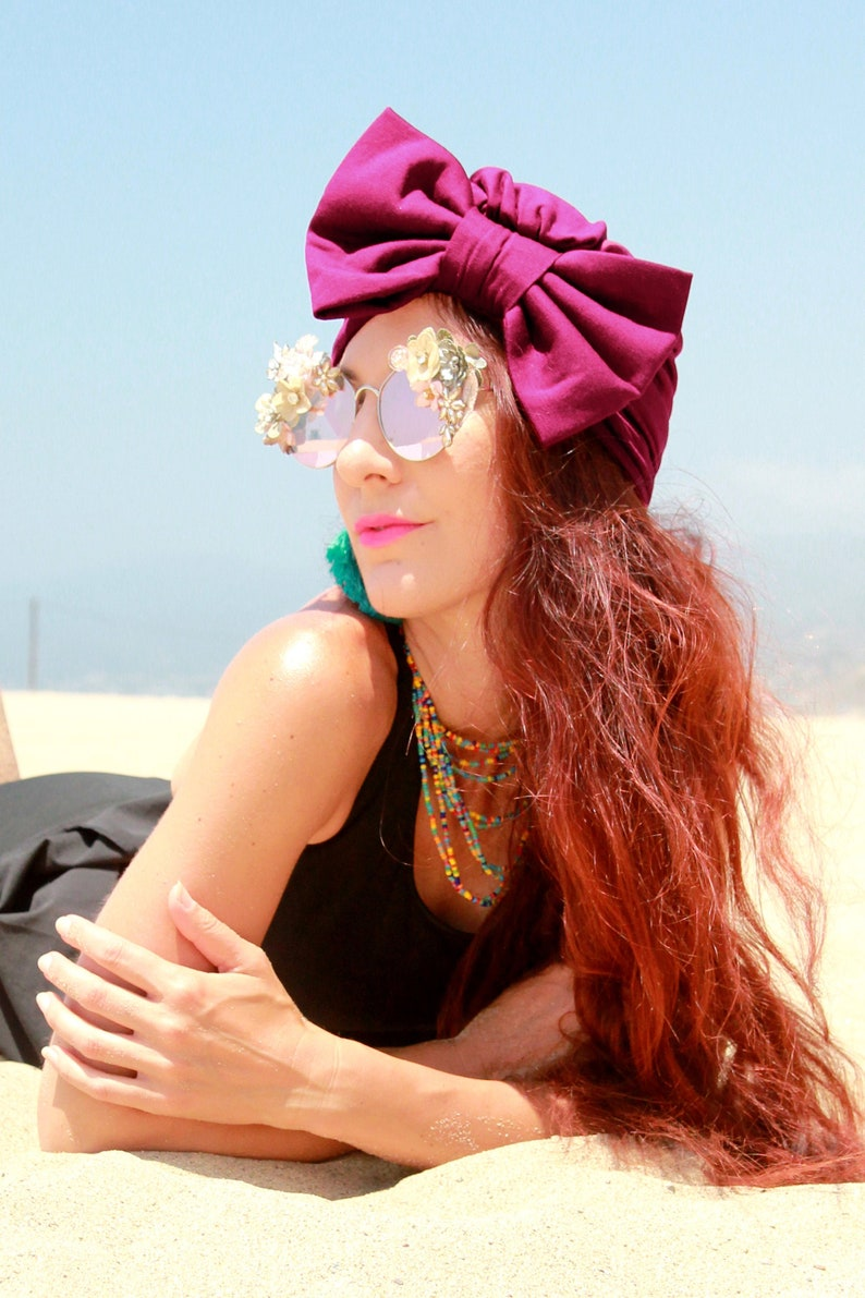 Women's Turban with Bow in Burgundy  Bow Turbans for image 0