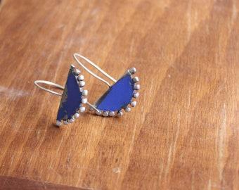 Granulated silver earrings