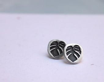 Monstera leaf silver earrings, plant earrings