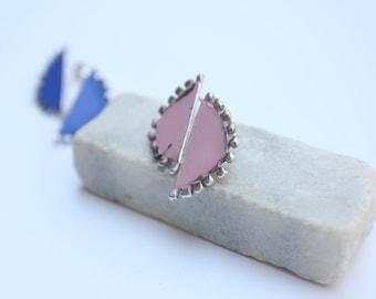 Granulated silver stud earrings