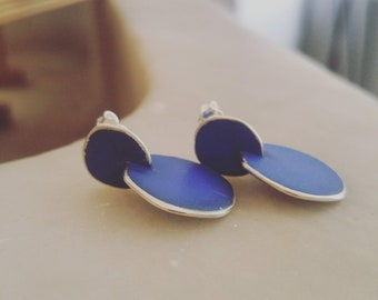 Indigo Sterling silver, organic shaped,textured earrings