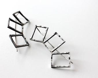 geometric sterling silver earrings, statement jewelry