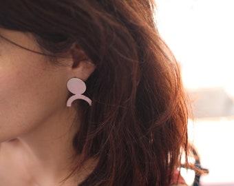 Pink silver statement earrings