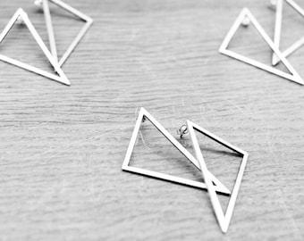 Silver triangle earring, minimal, geometric