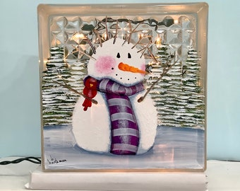 Glass block small snowman bad hair day with cardinal