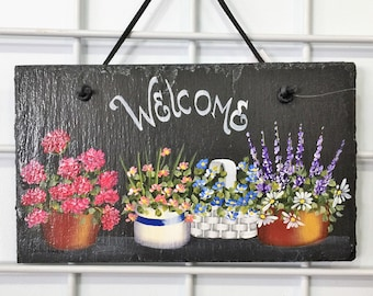 Sign-Slate-Welcome-Pots of flowers