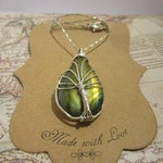 Wire Wrapped Labradorite Gemstone Tree of Life Pendant Necklace in Sterling Silver