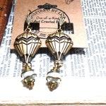 Brass Ox Hot Air Baloon Pair Caged Glass Pearl Cute Earrings