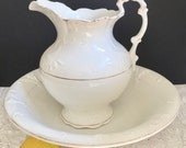 Antique Farmhouse White Embossed Pitcher and Matching Bowl Set
