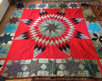 Vintage Hand Made/Hand Stitched Texas Lone Star Quilt