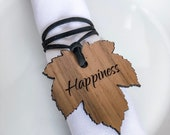 Wood Fall Maple Leaves Napkin Ring Tags Thanksgiving Dining Table Decor Walnut Autumn Thankful Wishes Leather Wrap