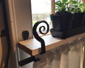 Window Shelf Bracket Black Iron hold curtain rod or shelf quilt wall hanging hook holds a1 1 4 dowel different designs