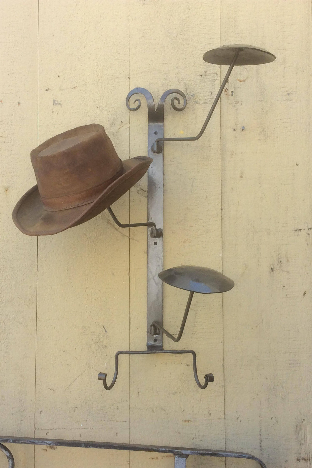I Need Ideas For Decorating My Living Room: Hat Rack Hangs On The Wall Arms Swivel And Is Hand Forged
