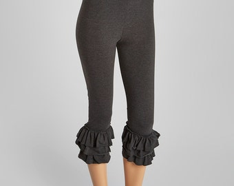 Triple Ruffle Leggings Ladies Sizes Capri  Length . Amazing quality. Made in the USA Special Etsy Price Reg. 42.00 Size small- XXL