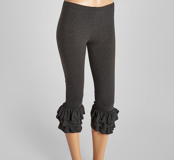 81322ae7ae Triple Ruffle Leggings Ladies Sizes Capri Length . Amazing