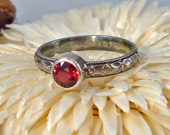 Locally Cut Hot Pink Natural Rhodolite Garnet Ring with Oxidized Floral Pattern Silver 5 1/2