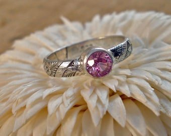Sterling Silver Pink Sapphire Bezel Ring with Flower Pattern Shank Multiple sizes