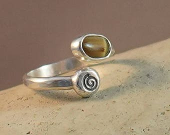 Adjustable Sterling Ring with Natural Cats Eye Tourmaline Oval Stone and stamped silver accent size 4, 4.5, 5, 5.5 Pinky Ring