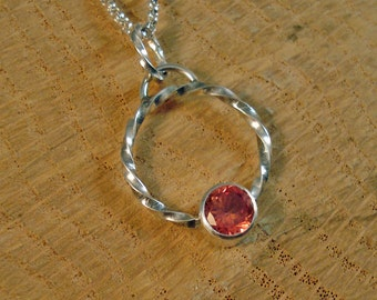 Sterling Silver Round Pendant with Orange Sapphire