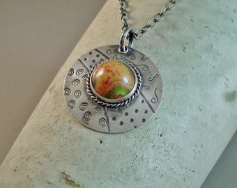 Stamped Sterling Silver Round Pendant with bezel set Glass Marble