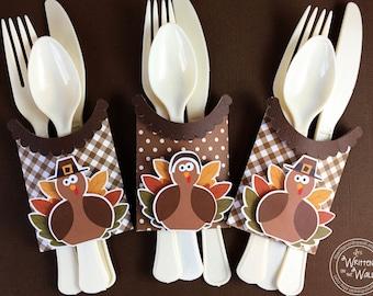 KIT Thanksgiving Turkey Utensil Holder / Kids Table Place Setting / Thanksgiving Kids Table / Thanksgiving Utensils / Tableware