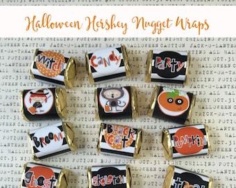 Halloween Hershey Nugget Wraps -Kids-18, Teacher Appreciation, Party Favor, Classroom Treats, Co-Workers Treat You've Been Booed, black