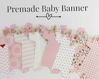 PREMADE 8 Onesies Banner for Baby Shower  /Decoration, Baby Girl Onesie /Nursery Decoration /Decor /Onesie Garland /Pink Banner /It's a Girl