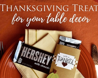 KIT Thanksgiving Candy Bar Wrapper / Candy Card /Place Setting Decor / Pumpkins / Hershey Bar / CoWorker Treat/Employees Gift /Neighbors