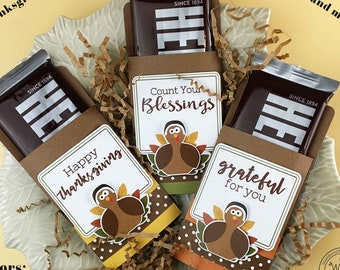 Kit Thanksgiving Candy Bar Wrap/Candy Card, Blessings/Grateful/Place Setting, Co-Workers Treat, Employees, Office Treats,