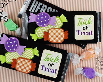 KIT Halloween Candy Bar Wrap, Trick or Treat, Candy Card, Treats, Gifts, Party Favor, CoWorker Gift, Employee Gift, Classroom Treat, Office