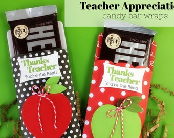 KIT Teacher Apprecation / Thanks Teacher, You're the Best / Hershey Candy Bar Wrappers / Apple for Teacher /Gift Ideas / Student Teacher