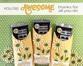 KIT You're AWESOME Candy Card/Candy Bar Wrappers,/Employee Appreciation Gifts/Teacher/Co-workers Gifts/Office Staff/Performance Evaluations
