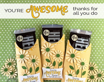 KIT You're AWESOME Candy Cards/ Candy Bar Wrappers/Employee Appreciation Gifts/Teacher/Coworkers/Office Staff/Morale Booster for Employees