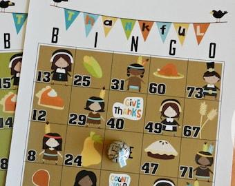 25 Thanksgiving Bingo, Thanksgiving Activity for the Kids-25 Sheet Game, Thanksgiving Game for Kids and Adults, Bingo Game, Pilgrams