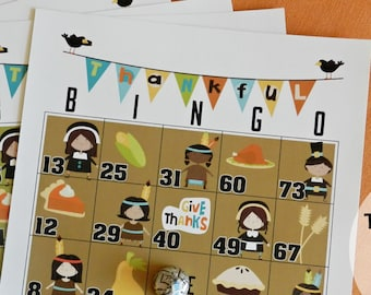 10 Thanksgiving Bingo-A Thanksgiving Day Activity for the Kids-10 Sheet Game Kids Table