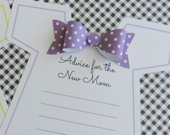 KIT Baby Shower Game / Onesie with Bowtie / Advice For the New Mom /Baby Shower Party Game / Keepsake / It's a Girl