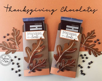 Kit Thanksgiving Candy Bar Wrap/Candy Card, Glitter Leaf, Place Setting, Co-Workers Treat, Employees, Office Treats, Table  Decor
