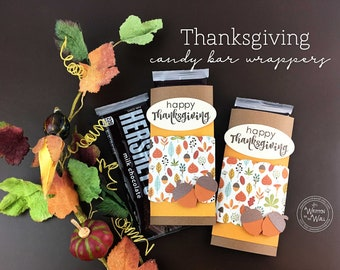 Kit Thanksgiving Candy Bar Wrappers /Candy Card, Place Setting, Co-Workers Treat, Employees, Office Staff, Table Setting  Fall Leaves, Wrap